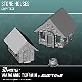 Stone Houses, Terrain Scenery for Tabletop 28mm Miniatures Wargame, 3D Printed and Paintable, EnderToys