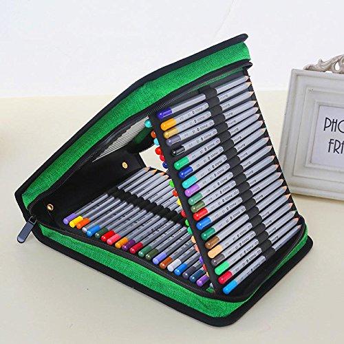 120 Einfügen Super Large Capacity Multi-Layer-Studenten Bleistift-Beutel. Multi Multi Multi Layer Bleistift-Halter Reißverschluss Buntstifte Organizer Case für Schule und Reisen. Mädchen und Jungen (Bleistift nicht enthalten) . deep Blau c4b1d5