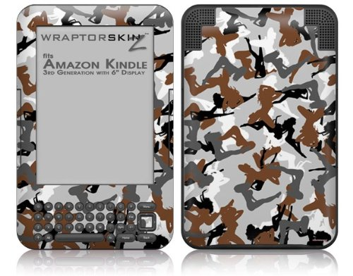 Sexy Girl Silhouette Camo Brown - Decal Style Skin fits Amazon Kindle 3 Keyboard (with 6 inch display)