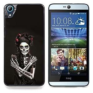 """Qstar Arte & diseño plástico duro Fundas Cover Cubre Hard Case Cover para HTC Desire 826 (Cráneo del azúcar de la mujer"""")"""