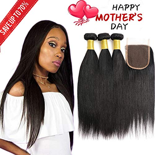 brazilian virgin human hair straight 3 bundles with lace