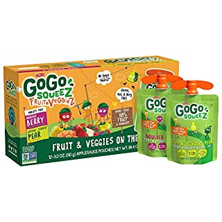 GoGo squeeZ fruit & veggieZ, Variety Pack (Pear/Berry), 3.2 Ounce (12 Pouches), Gluten Free, Vegan Friendly, Unsweetened, Recloseable, BPA Free Pouches