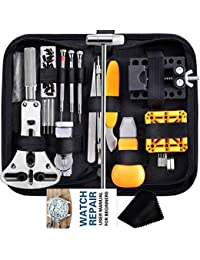 Watch Repair Kit, Anezus 187Pcs Watch Tool Kit with Watch Link Pin Remover Tools and Watch Back Case Removal Tools for Watch Strap Remover, Watch Battery Replacement, Watch Band Sizing, Watch Repair