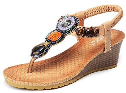 Odema 1 Wedge Bohemian Slingback Women Gemstone Sandals Apricot Summer rPxrq8
