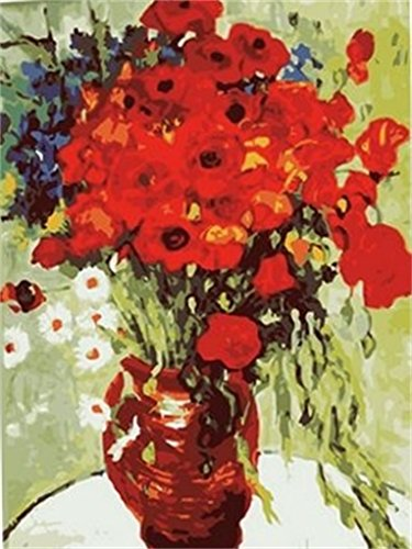 Diy oil painting, paint by number kit- white Daisies and red Poppies Flowers in vase by van Gogh 1620 inch.