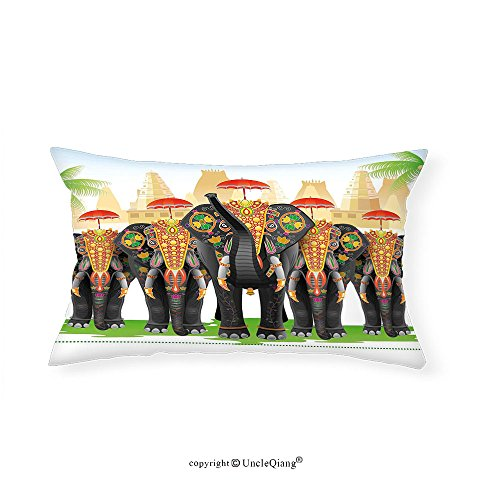 VROSELV Custom pillowcasesEthnic Elephants in Traditional Costumes with Umbrellas Indian Ceremony Ritual Graphic for Bedroom Living Room Dorm - Hepburn Diy Audrey Costume
