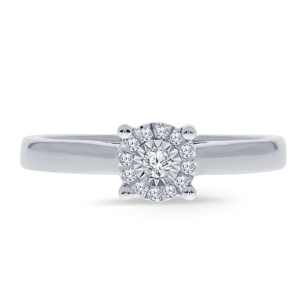 La Joya Mother's Day 1/10Ct White Round Natural Diamond Sterling Silver Solitaire Miracle Plate Ring Engagement Wedding Promise Ring