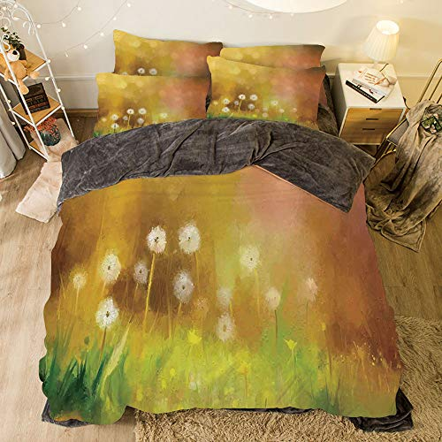 Flannel Duvet Cover Set 4-Piece Suit Warm Bedding Sets Quilt Cover for Bed Width 6.6ft Pattern by,Watercolor Flower Home Decor,Dandelion Wild Nature Pastel Grass Spring Floral Art Theme,Yellow Green