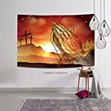 sophiehome-311199311 Christian Easter concept of crosses on Calvary hill and praying hands tapestry wall hanging magical thinking tapestry 36W x 24L Inches