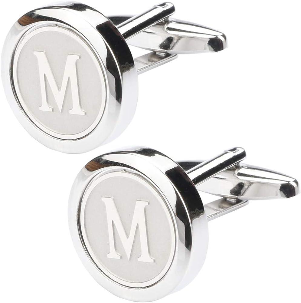 Dannyshi Mens Classic Stainless Steel Initial Cufflinks 26 Alphabet Initial Letter Cufflinks Business Wedding Shirts A-Z