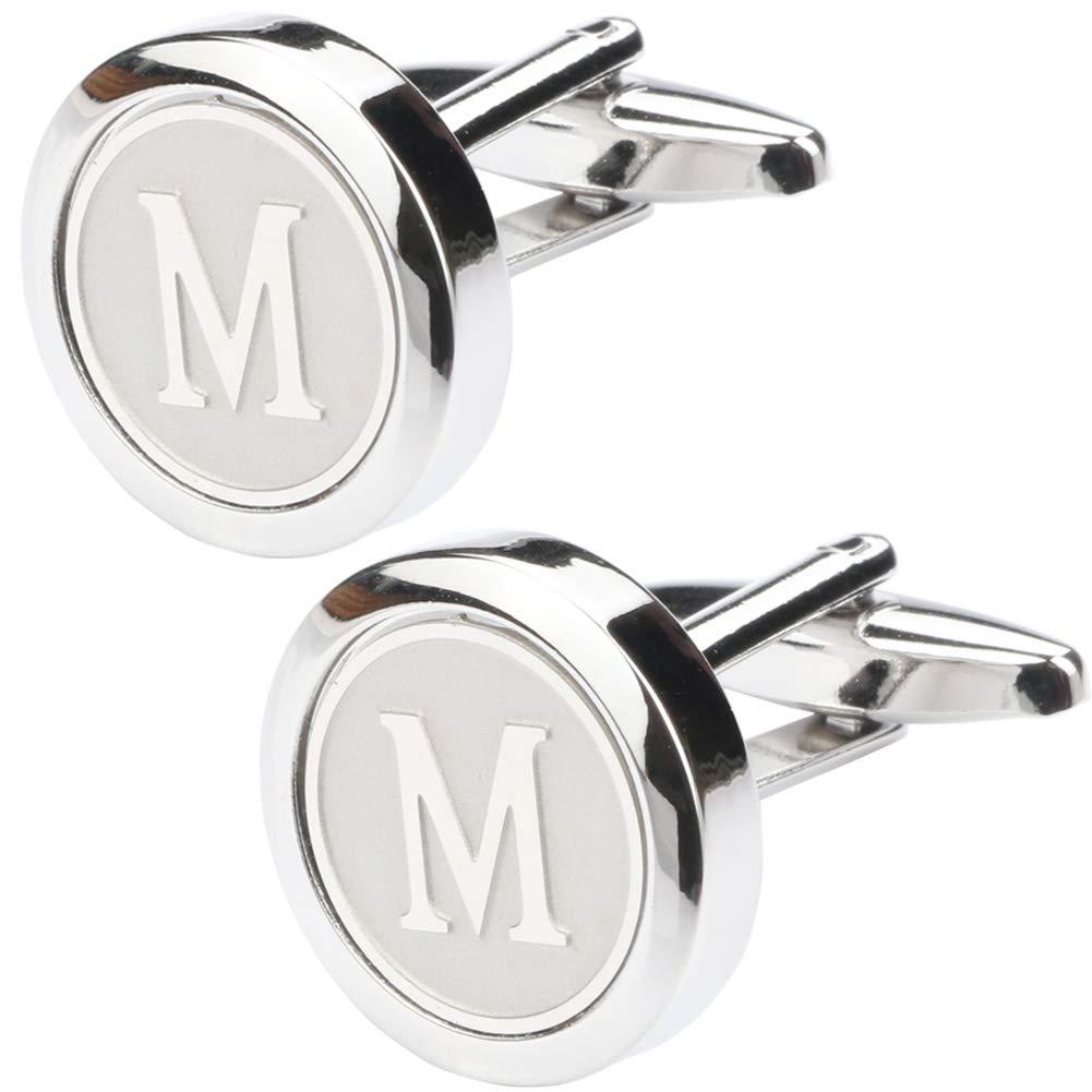 Dannyshi Mens Classic Stainless Steel Initial Cufflinks 26 Alphabet Initial Letter Cufflinks Business Wedding Shirts A-Z (M)