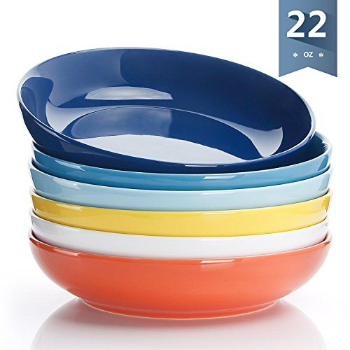 Sweese 1310 Porcelain Salad/Pasta Bowls - 22 Ounce - Set of 6, Assorted Colors by Sweese