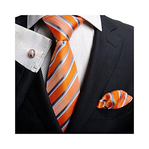 Landisun Different Stripes Patterns Mens SILK Tie Set: Tie+Hanky+Cufflinks (3.25