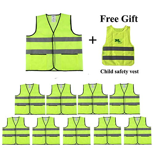 Reflective Safety Vest with Pockets,10 Pack,Construction Vest with Reflective Strips, Made from Breathable and Bright Yellow Mesh Fabric,High Visibility Vest for Working Outdoor by CIMC
