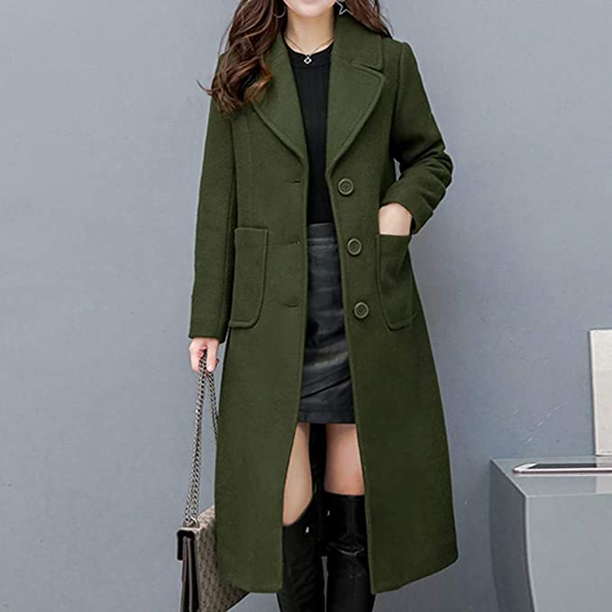 Amazon.com: Besde Womens Autumn and Winter Fashion Classic Lapel Shift Woolen Trench Coat Double-Sided Cashmere Loose Button Long Coat: Home & Kitchen