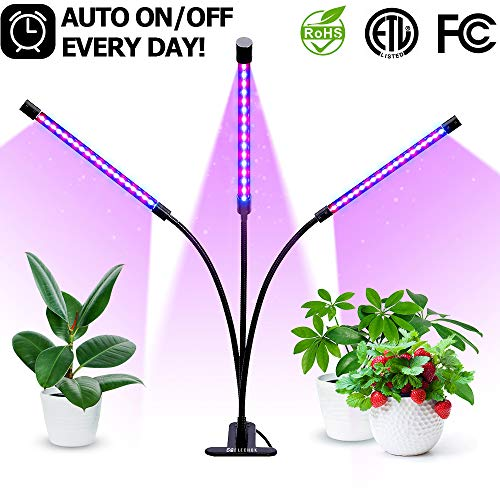 30W Plant Grow Light with Auto Turn On Function, TROPRO 60 LED Grow Lamp with 3/6/12H Timer, 3-Head Divide Control Adjustable Gooseneck Function, 5 Lightness Adjustment [Newest Upgraded Switch]