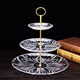 3 Tier Cake Stand and Fruit Plate Cupcake Clear Acrylic Stand White for Cakes Desserts Fruits Candy Buffet Stand for Wedding & Home & Birthday Party Serving Platter