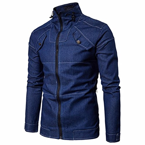 Mysky  Men's Long Sleeved Denim Top Autumn Cowboy Slim Coat Solid Blouse Hoodies Jacket (Blue, M) by My*sky Tops