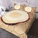 BlessLiving Rustic Country Tree Ring Bedding Annual Rings Wood Design 3 Piece Natural Brown Duvet Cover Set (Twin)