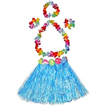 Girl's elastic Hawaiian hula dancer grass skirt with flower costume set-blue