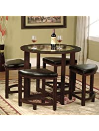 Roundhill Furniture Cylina Solid Wood Glass Top Round Dining Table With 4  Chairs