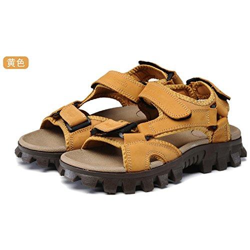 Xing Lin Sandalias De Hombre Verano Nuevo Hombre De Sandalias De Cuero Inferior Grueso Transpirable De Calzado Casual Calzado De Playa Aumentar Zapatos De Hombre Impermeable Zapatos Fresco Verano yellow