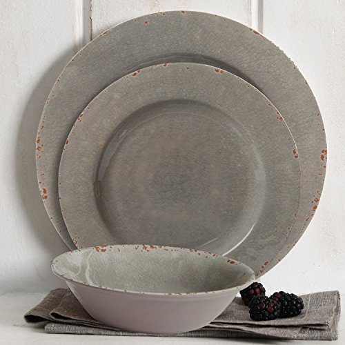 Studio California Mauna 12 Piece Heavyweight Melamine Dinnerware Set, Gray