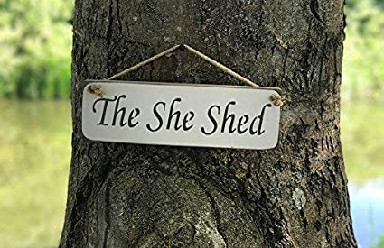 Amazon com: Ballkleid The She Shed Sign Solid Kitchen Funny