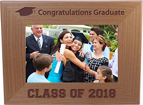 Congratulations Graduate Class Of 2018, 2019, 2020 - Custom Wood Picture Frame Holds 4x6 Inch Photo - Add the year custom ()
