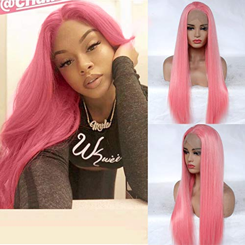 MSSugar521 Best Synthetic Hair Pink Wigs for Black Women Natural Looking Silk Straight Hair Wigs with Free Part Long Pastel Wigs Heat Resistant Fibers Lace Front Wigs with Baby Hair ()