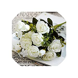 Artificial Flowers Artificial Small Roses Flower Bouquet Decorative Silk Flowers Table Arrangement for Wedding Home Party Decoration Accessory,A 49