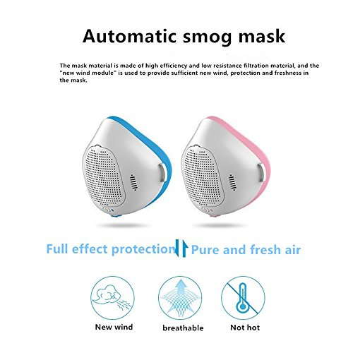 automatic smog masks, Kiamitor Phone APP Anti-Dust Air Mask Filter Smart Purification Mask, Outdoor Sports, Running, Smoke, Pollen, Paint, Spray, Safety Filter and Automatic Air Supply (blue) by Kiamitor