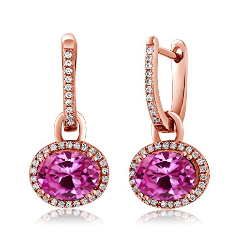Oval Sapphire Pink Earrings (Gem Stone King 5.64 Ct Oval Pink Created Sapphire 18K Rose Gold Plated Silver Earrings)