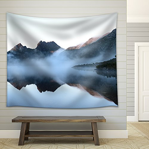 the Reflex of Cradle Mountain on the Surface of Dove Lake During Morning Fabric Wall