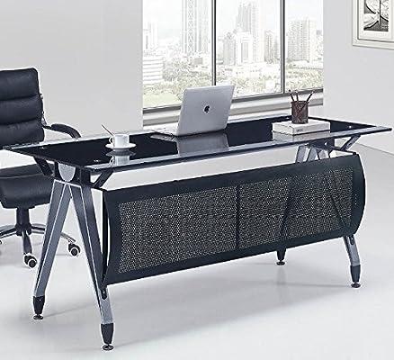 Hogar Decora Mesa de Oficina, Cristal Negro y Transparente, 160x80 ...