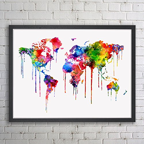 Amazon world map inspiration map colorful print painting wall world map inspiration map colorful print painting wall art world map print watercolor poster wall art gumiabroncs Images