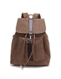 Women Convertible Business/Travel Canvas Backpack/Handbag-Brown