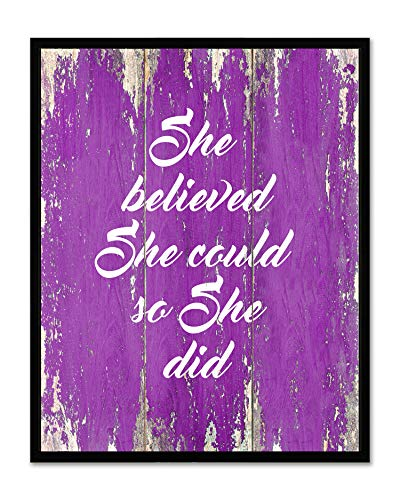(She Believed She Could So She Did - Framed - Quote Motivational Wall Art Canvas Print Home Decor, Black Real Wood Frame, Purple, 14x18)