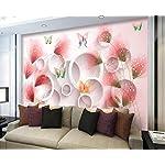 LIWALLPAPER-Carta-Da-Parati-3D-Fotomurali-Floreale-Farfalla-Cerchio-Rosa-Camera-da-Letto-Decorazione-da-Muro-XXL-Poster-Design-Carta-per-pareti-200cmx140cm