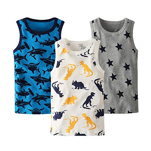 HUAER& Toddler Boys' 2-3 Pack Tank Tops (4T (Height 110cm), - Toddler Sleeveless