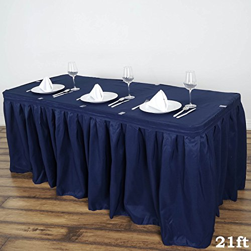 - BalsaCircle 21 feet x 29-Inch Navy Blue Polyester Banquet Table Skirt Linens Wedding Party Events Decorations Kitchen Dining