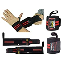 "Deluxe Wrist Wraps 13"" Long (1 Pair /2 Wraps) for WEIGHT LIFTING TRAINING WRIST SUPPORT COTTON WRAPS GYM BANDAGE STRAPS For Women & Men - Premium Quality ! PRO Rubber Puller !"