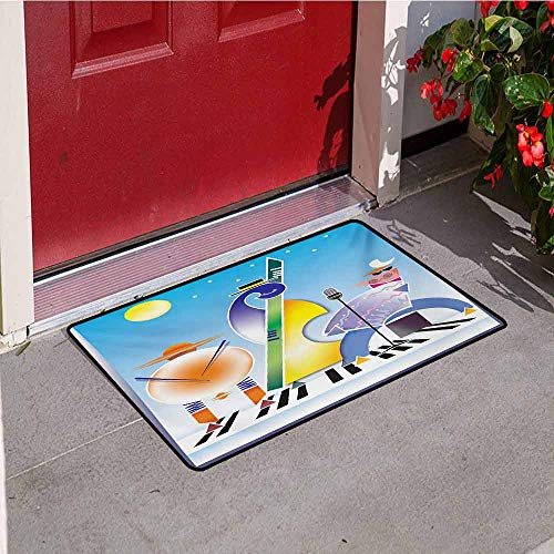 - Jinguizi Music Inlet Outdoor Door mat Abstract Band of Geometric Shapes Drums Accordion Performing on Keyboard Surface Catch dust Snow and mud W23.6 x L35.4 Inch Multicolor