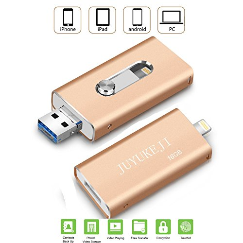USB Flash Drive for iPhone iPad - Pen Drive with USB Micro USB and Lightning(3 in 1) Connector, JUYUKEJI Jump Drive U Disk External Memory Stick for Apple IOS Andriod and Computer (32GB, Gold)