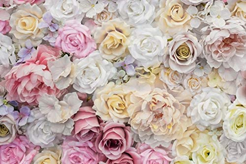 Laeacco Rose Backdrop 10x6.5ft Wedding Vinyl Photography Background Floral Wall White Pink Flowers Graceful Valentines Day Birthday Children Adults Girls Lovers Portraits Shoot Photo Props