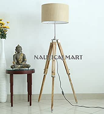 Nauticalmart Handloom Brown Fabric Adjustable Tripod Floor Lamp For Living Room