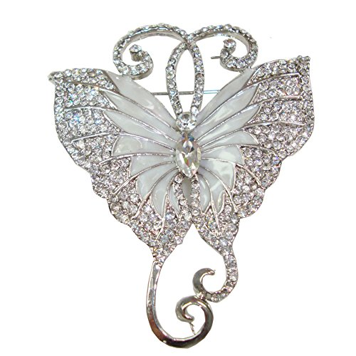Brooch Art Pin Nouveau (TTjewelry Pretty Butterfly Art Nouveau Brooch Pin Austria Crystal Gifts (White Silver-tone))
