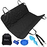 Udaily Waterproof Car Seat Cover for Pet, Slip-Proof Dog Hammock for Car, Deluxe Pet Seat Cover Kit – Black Color (Pet Seat Cover+Storage Bag+4 Pet Supplies)