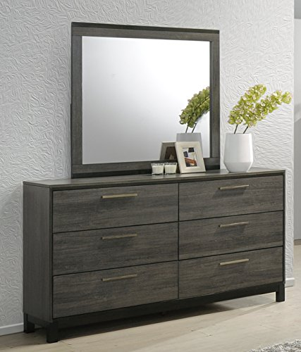Roundhill Furniture Ioana 187 Antique Grey Finish Wood Dresser and Mirror, Dresser (Mirror Dresser With Tall)