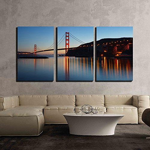 - wall26-3 Piece Canvas Wall Art - Golden Gate Bridge at Twilight. San Francisco, USA - Modern Home Decor Stretched and Framed Ready to Hang - 16